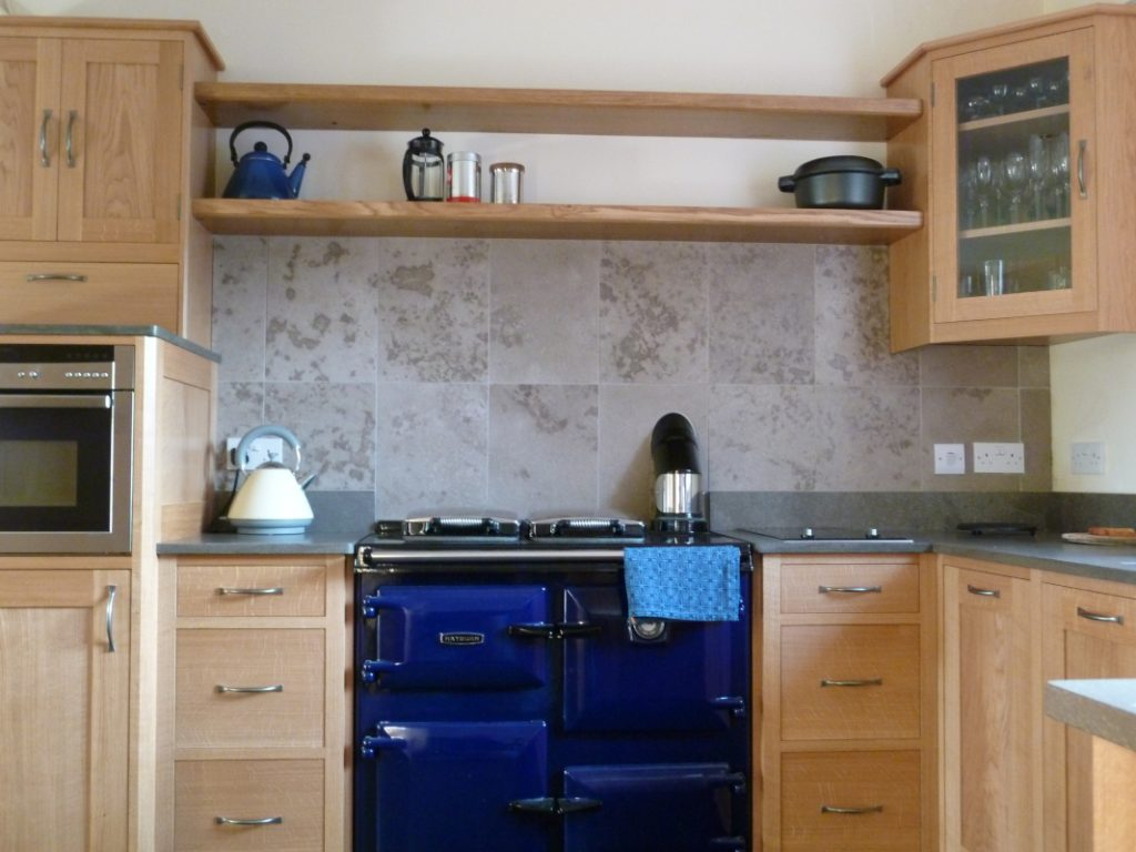 oak and limestone kitchen